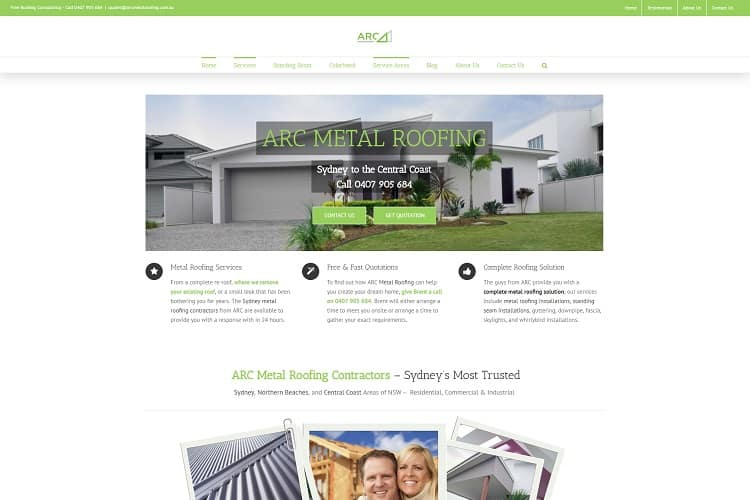 Metal Roofing Trade Website Central Coast