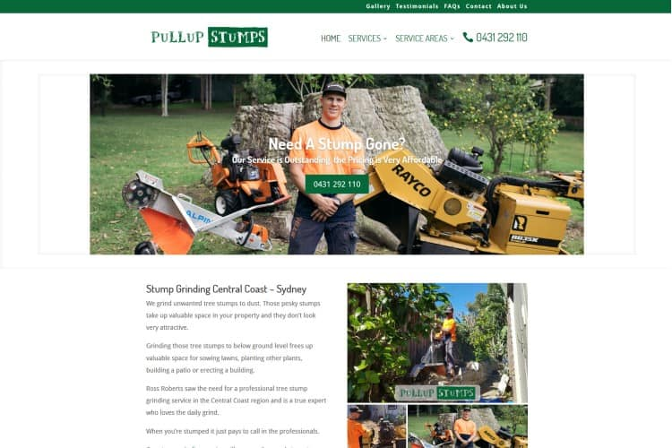 Stump Grinding Trade Website - Central Coast