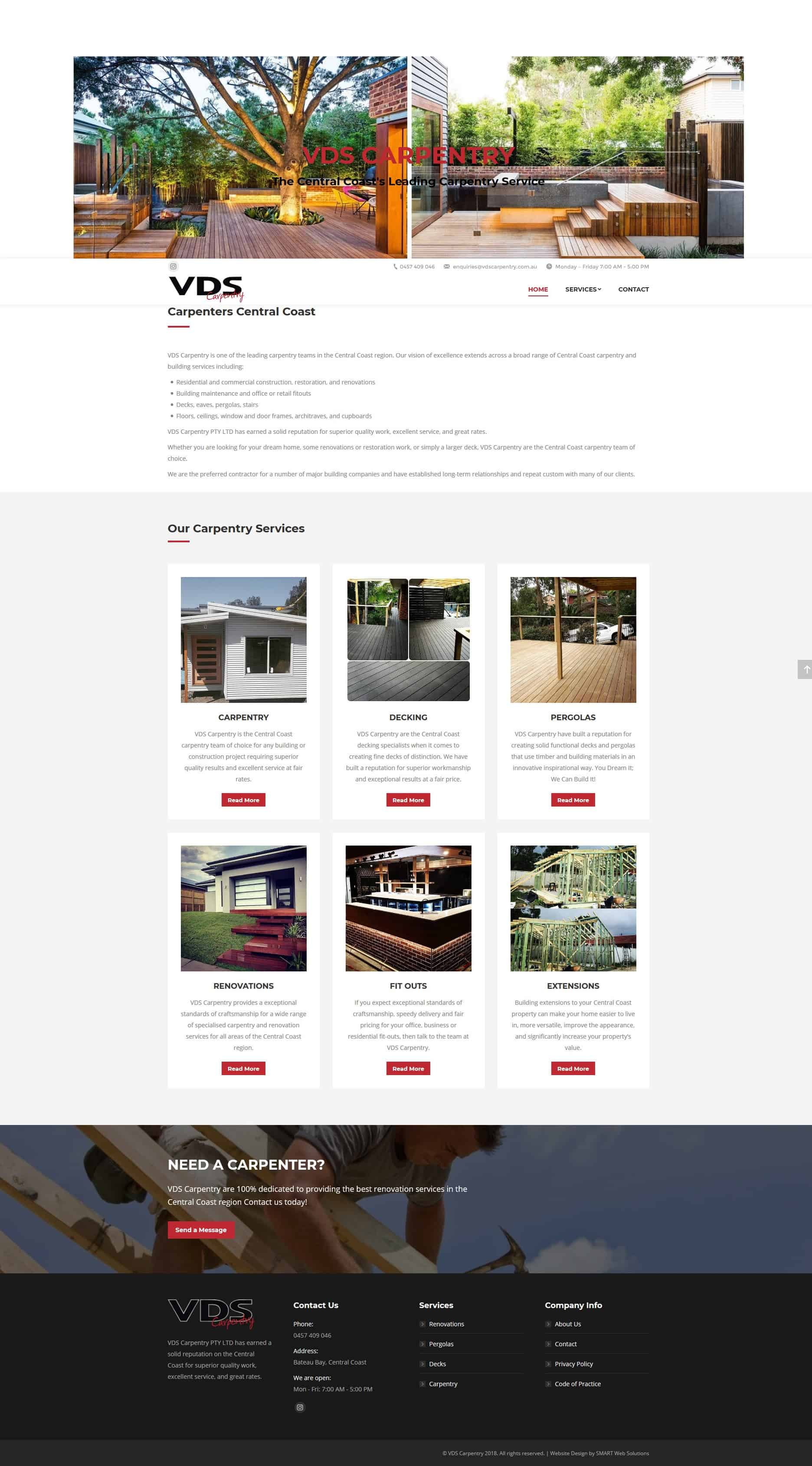 Carpenters Central Coast - Website Build After Image