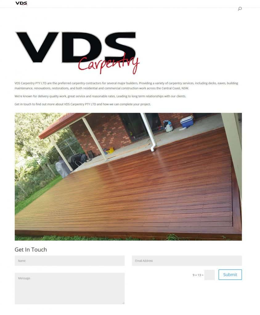 Carpenters Central Coast - Website Build Before Image