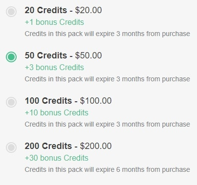 Example of OneFlare Credit Pack Costs
